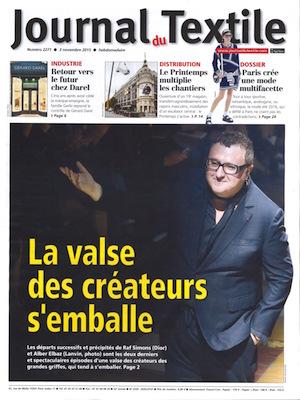 Parution Tranoï - Cover Journal du Textile - 3 Novembre 2015 -Bénédicte Jourgeaud